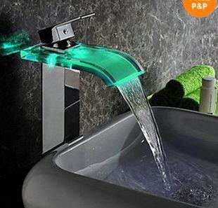 Bathroom Faucet Brass Chromed single handle single hole Mixer Tap LED glass basin faucet robinet salle de bain LH-8009