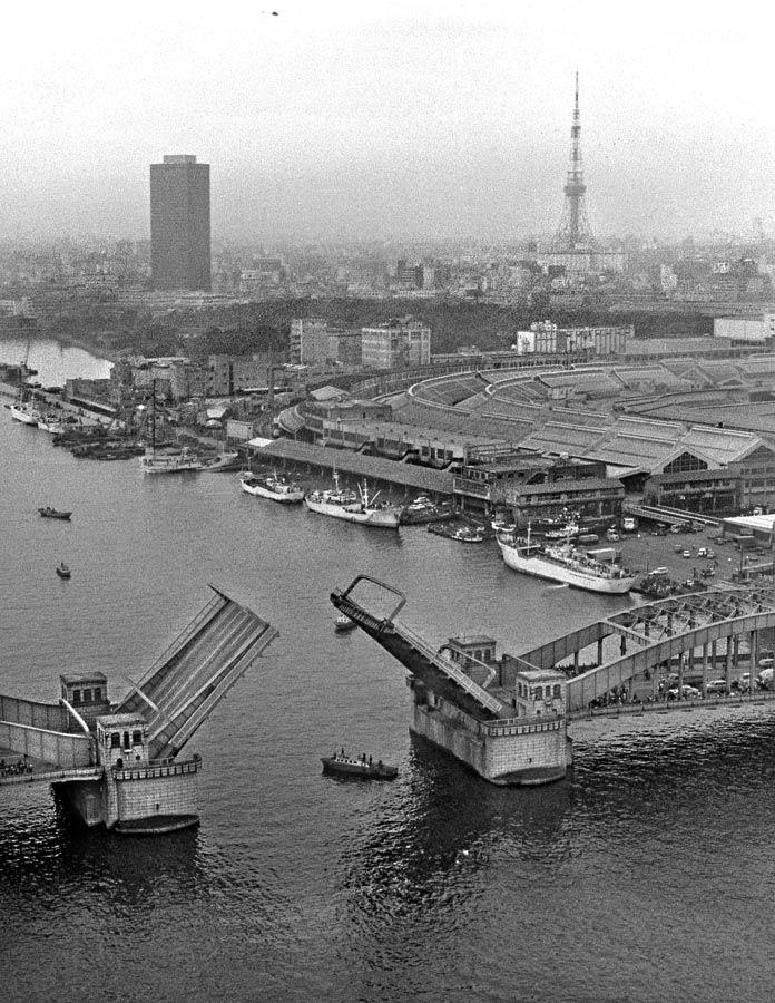 勝鬨橋と東京タワー