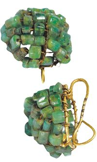 A pair of gold earrings discovered in the Vesuvian area, dating to pre 79 A.D.