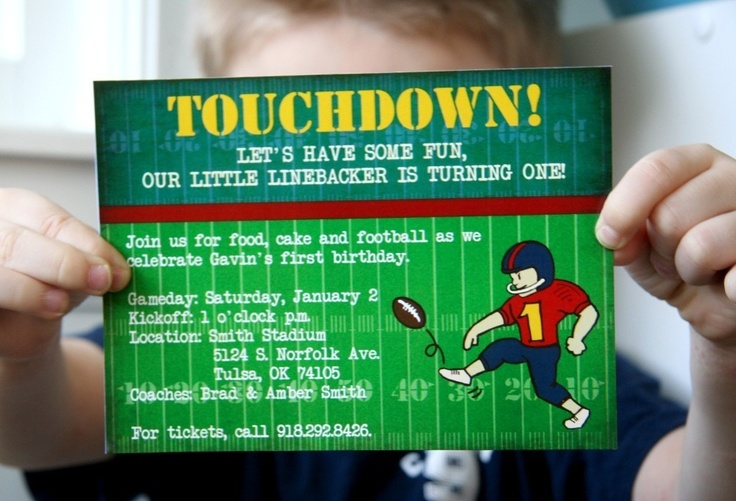 PRINTABLE FOOTBALL-themed party pack - invitations, thank you notes, cupcake toppers, bottle tags, straw tags, bunting. $20.00, via Etsy.