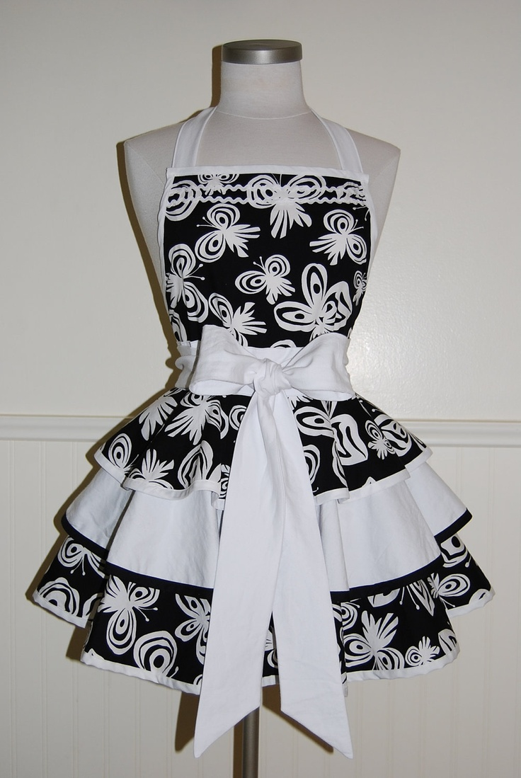 White apron etsy - Black And White Gingham Full 2 Tier Sweetheart Hostess Apron