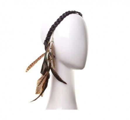 Black Leather with Multi Feather Hair Tie Headband