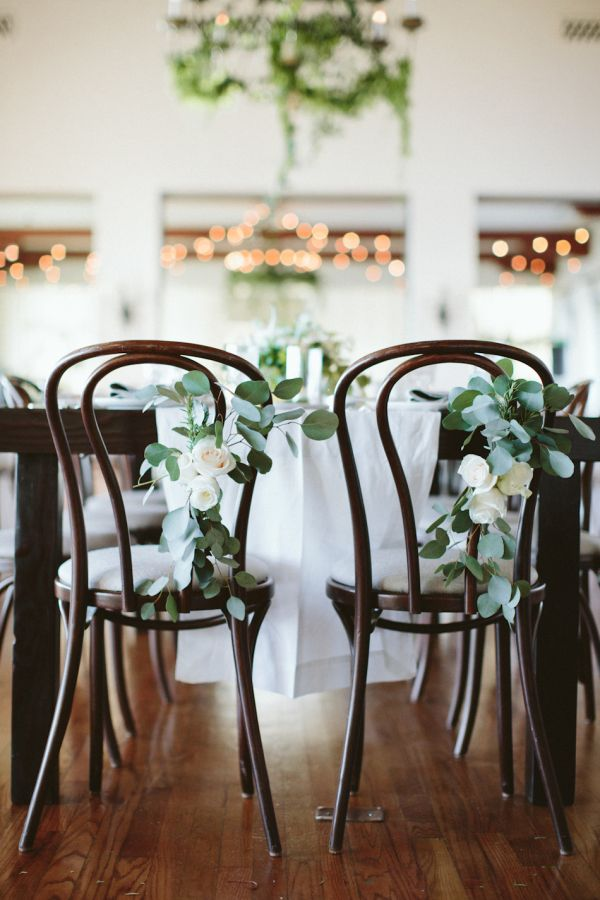 bentwood dining chairs with floral accents   Bel-Air Ballroom Wedding with Shades of Green