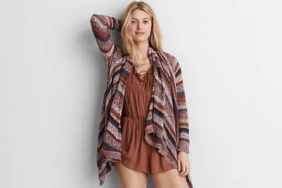AEO Striped Waterfall Cardigan  by  American Eagle Outfitters |  Shop the AEO Striped Waterfall Cardigan  and check out more at AE.com.