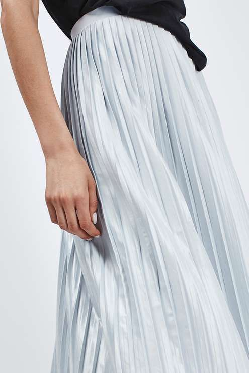 Satin look details add a pretty touch to pleats in this midi skirt. Sitting high on the waist, the full skirt comes in a pleated texture. #Topshop