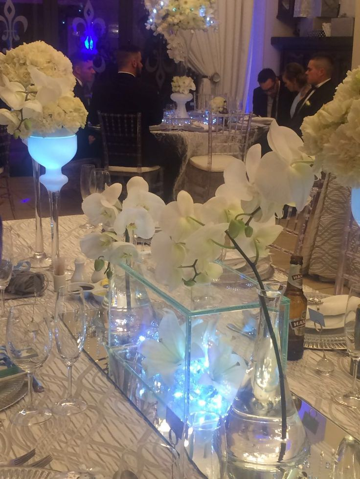 Ice blue lights and crystal decor