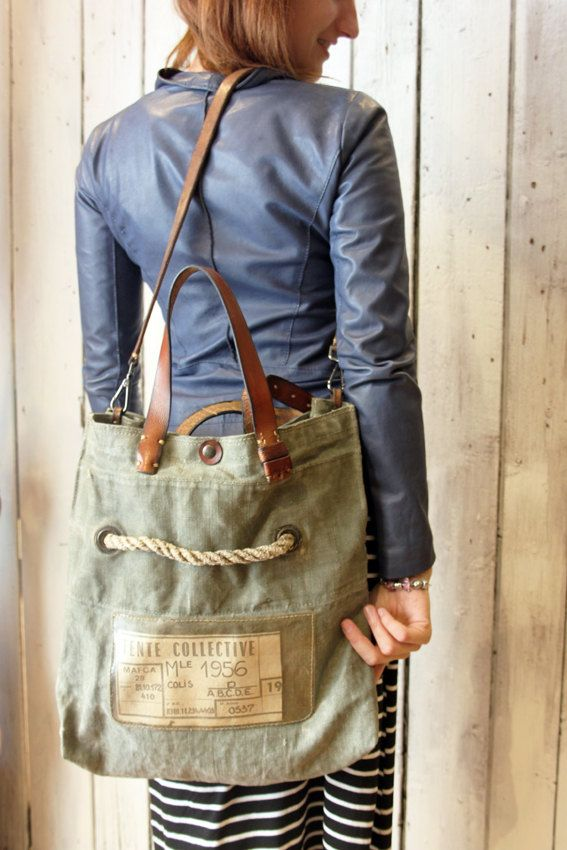 """Handmade Italian  Vintage Leather Tote & Vintage fabric from 1956 """"BANG Bag tente Collective"""" di LaSellerieLimited su Etsy"""