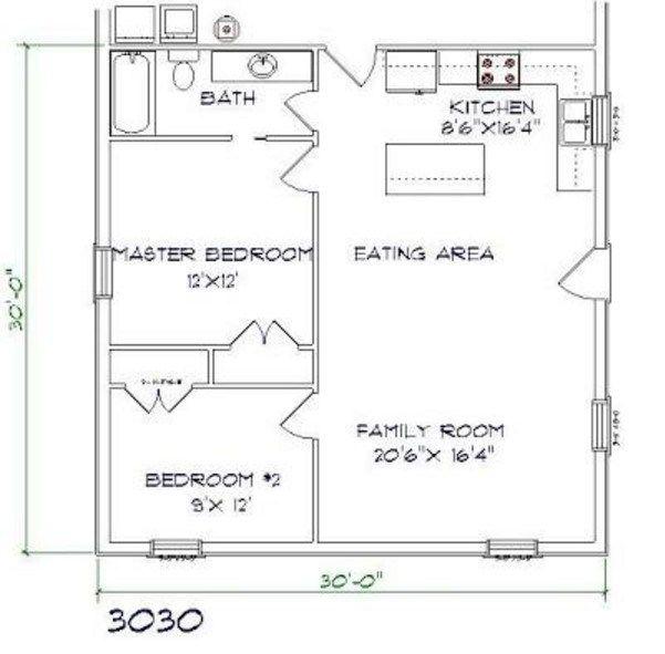 Brandominium Floor Plan 2 Bed 1 Bath 30x30 900 Sq Ft