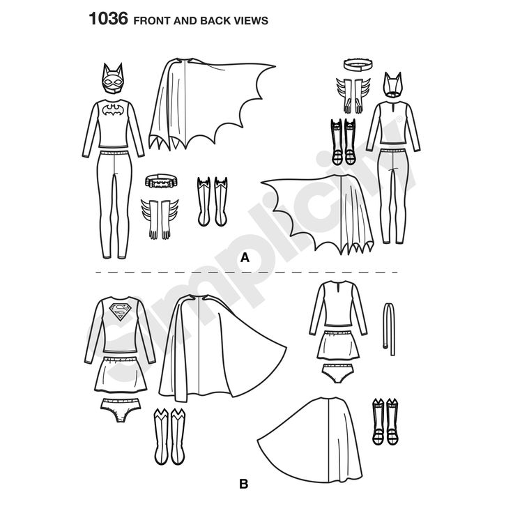 Misses' DC Comics costumes: Batgirl includes top, leggings, cape, mask, belt, gloves and boot covers, and Supergirl includes top, skirt, panties, cape, belt and boot covers. Warner Bros. Simplicity sewing pattern.