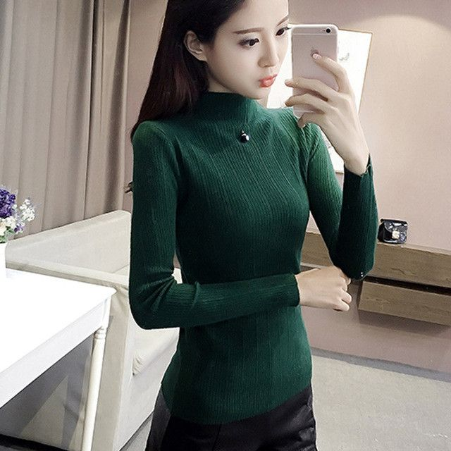 UPPIN 2017 Korean Autumn Winter Knitted Sweaters Woman Pull Femme Slim Comfortable Turtleneck Long Sleeve Sueter Mujer Chandail