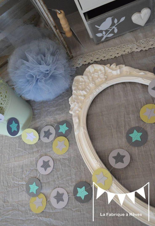 Guirlande toiles pastille cousue rond papier carton for Chambre bebe bleu turquoise vert anis