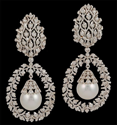 18k White Gold Diamond Pearls Earrings Circa 1980s