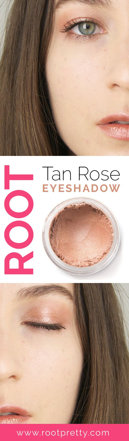 A Root Favorite! Our loose Tan Rose eyeshadow pigment is a STUNNING shimmery tan color with a dusty pink undertone. Use wet or dry for a stunning natural eyeshadow. #roottanrose COLOR SWATCH INGREDIEN