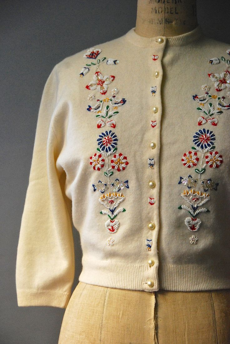 vintage 1950s beaded cardigan by CapsuleVintage