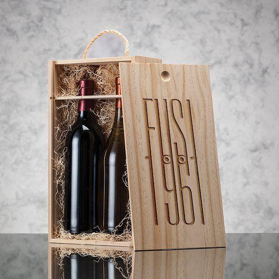 Cadeaux Tendance - Coffret en bois pour 2 bouteilles de vin couvercle coulissant
