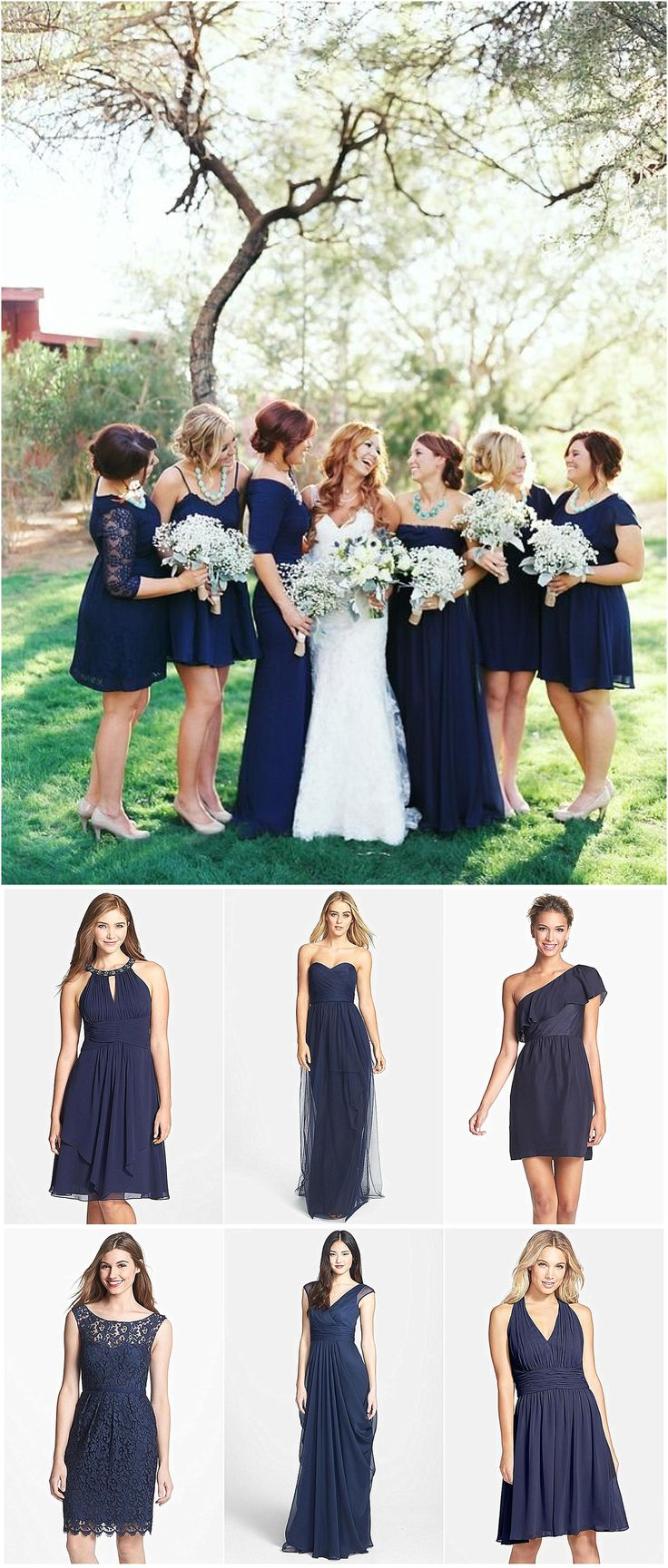 Navy Bridesmaid dress ideas. photo by Brushfire Photography. Really like the navy color for fall.