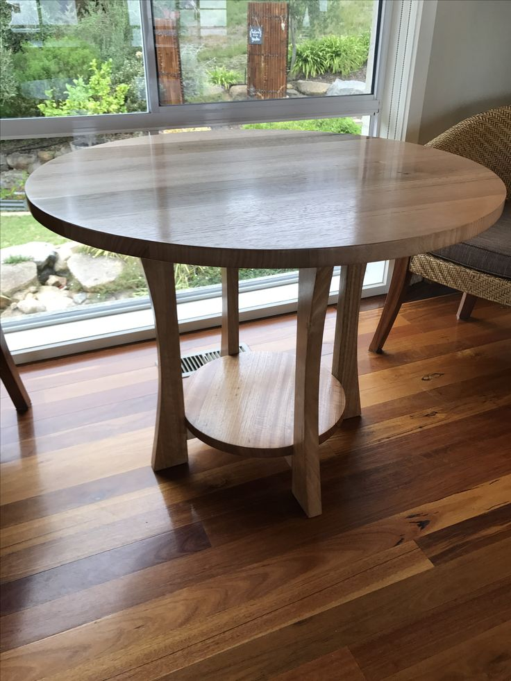 Round table made from solid hardwood timber