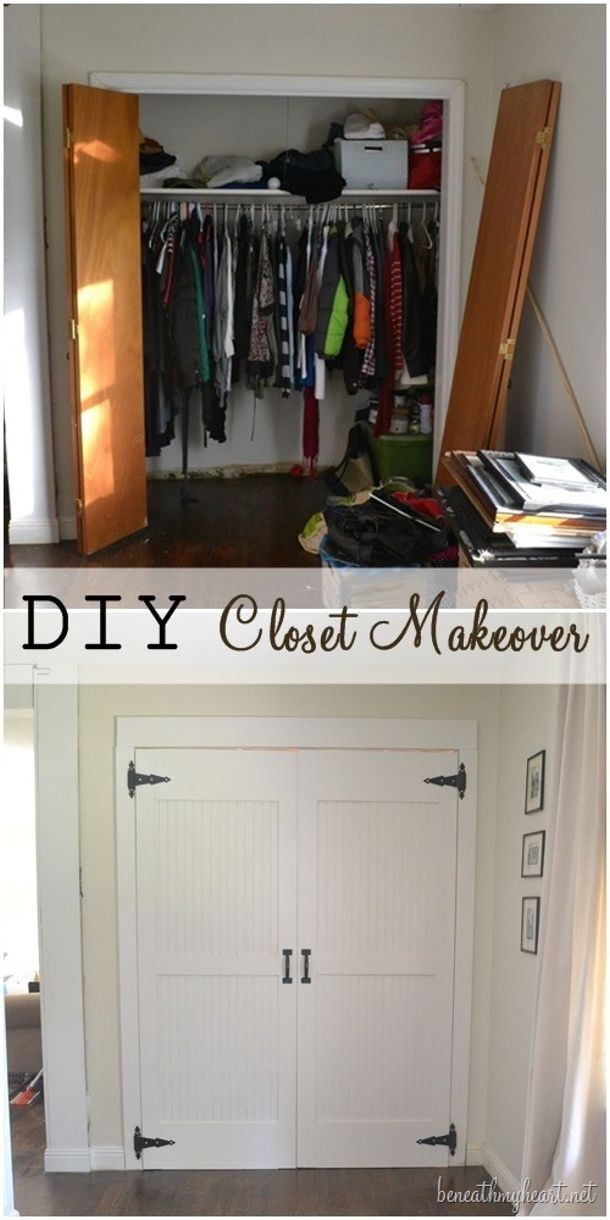 Transform flat paneled doors with panel molding diy Tutorial via Driven By Decor