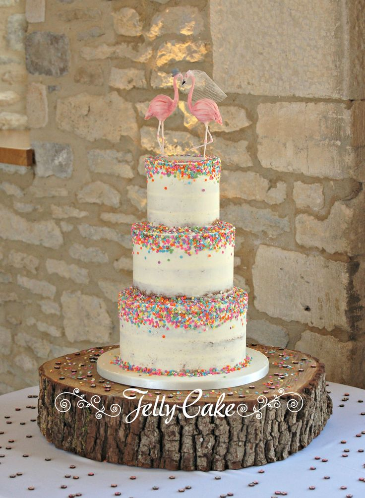 Semi naked wedding cake with confetti sprinkles and bride and groom flamingos!