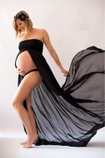 New Maternity Photography Pregnancy Gown Black Chiffon - Free Shipping!