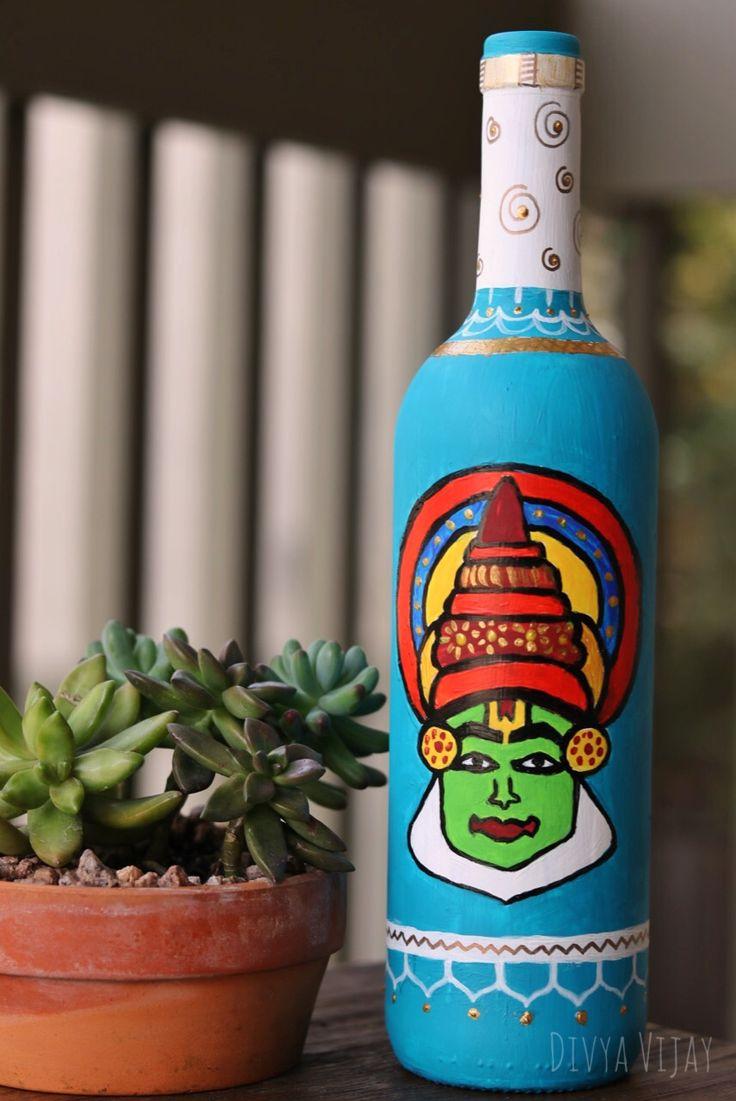 Repurpose used bottles and give them an eccentric makeover.  Kathakali face painted on an used bottle.  #upcycledbottles #kathakali #indiandecor   https://m.facebook.com/divyavijaystudio/