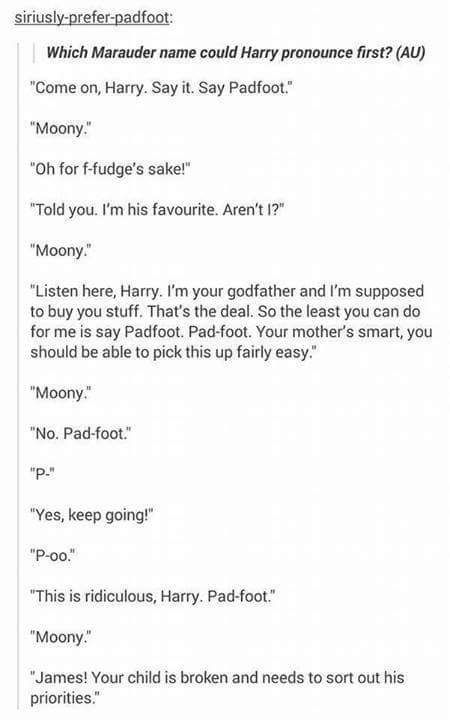 Your child is broken --- PRIORITIES ... lol padfoot before mum and dad