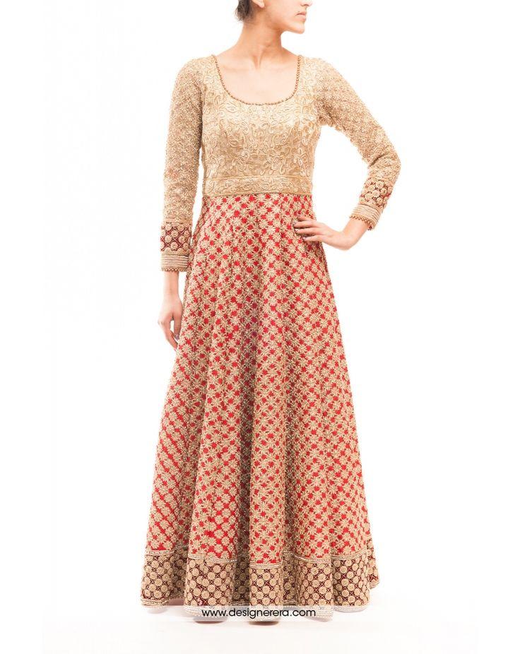 DE Fascinating Cream And Red Heavy Bridal Anarkali Suit