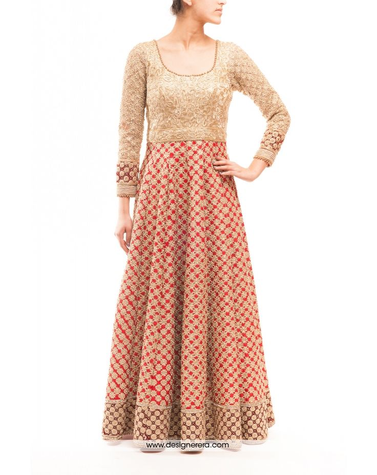 DE Fascinating Cream And Red Heavy Bridal Anarkali Suit