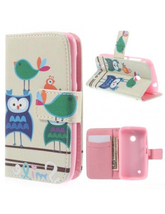 Δερμάτινη Θήκη Πορτοφόλι με Βάση Στήριξης για Nokia Lumia 530 RM-1017 - Χαριτωμένα Πουλιά Καρτούν
