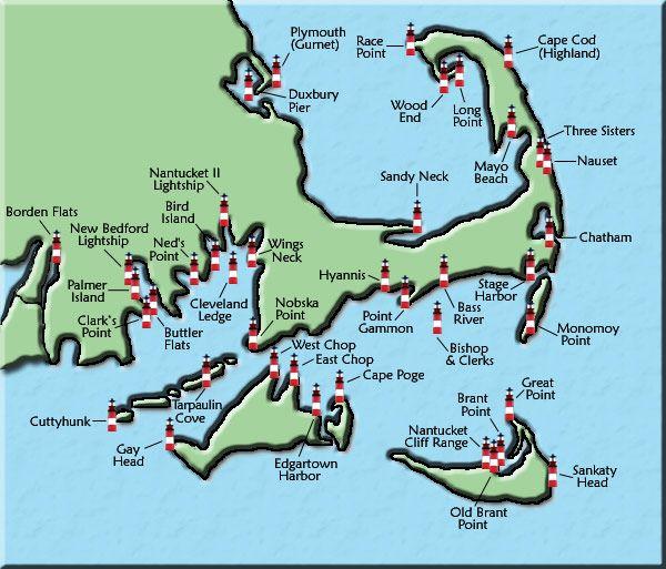 Lighthouses Of Rhode Island Map