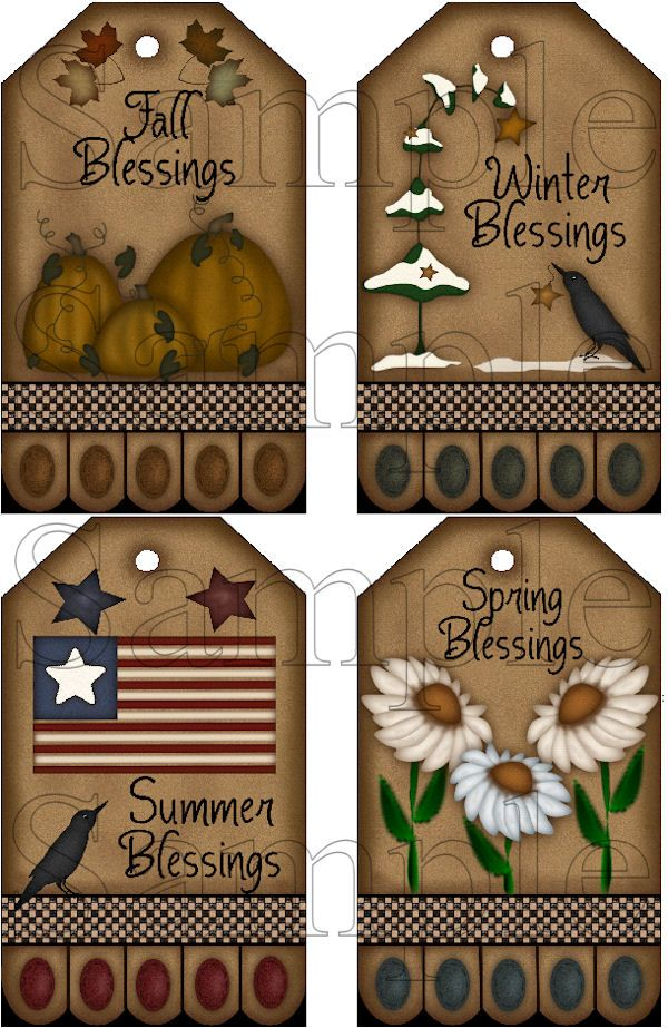 Set of 4 Large Seasonal Hang Tags Instant Download Printable