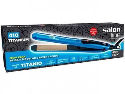 Chapinha/Prancha de Cabelo Cerâmica 210°C - Salon Line 410 Titanium com as melhores condições você encontra no Magazine Edmilson07. Confira!