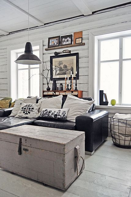 Lunda Gard / Aja and Christian Lund {gray and white eclectic rustic vintage modern living room} by recent settlers, via Flickr