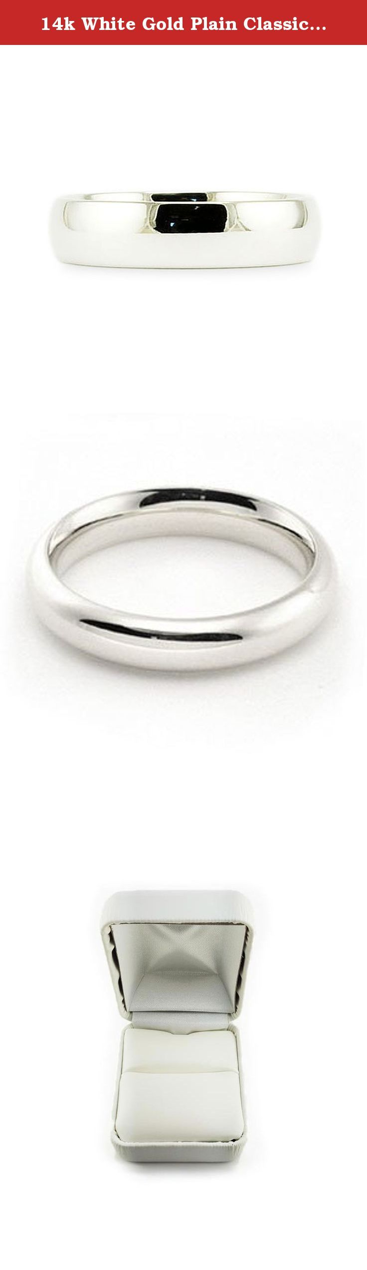 14k White Gold Plain Classic 4mm COMFORT FIT WEDDING BAND size 10. This beautiful classic band has a slightly rounded body, bright finish and is comfort fit. The comfort fit design features a rounded polished interior that allows the ring to slide easily and rest comfortably on the finger. Caring For Your Jewelry To keep your jewelry shining and scratch-free, avoid contact with harsh chemicals and chlorine. To clean gold jewelry, use warm water and a mild soap. We do not suggest using a...