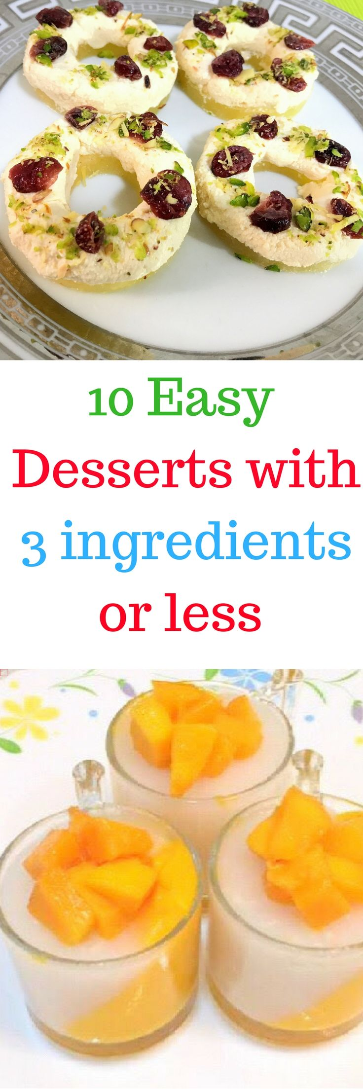When your pantry is running low, turn to this list of quick and easy desserts. Every sweet recipe here requires three main ingredients (or fewer!) to make. You won't believe how easy to make these beautiful, homemade desserts are! These desserts are perfect for all kinds of  parties like a kitty party, a birthday party or just a friends get-together. Try them now and let us know which one's your favorite!