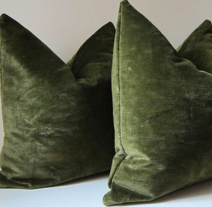 Set of Two - Moss Green pillows - Decorative Pillow Covers -  20 inch - designer quality - Green velvet - moss - green velvet- ready to ship. $100.00, via Etsy.