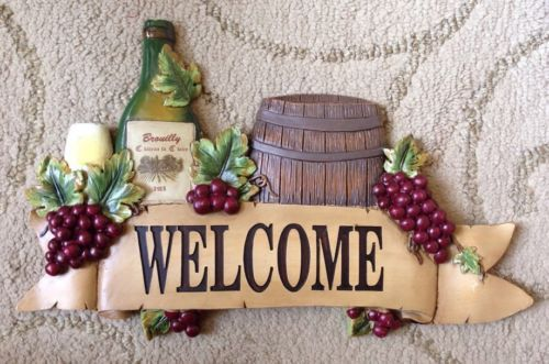 """13 5"""" Italian French Bistro Wall Plaque Welcome Home Wine Grapes Kitchen Decor"""