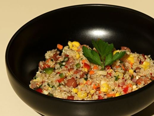 Healthy and Delicious: Confetti Quinoa Salad w shallots, bell pepper, carrot, jalapeño, corn, parsley, EVOO, lime!