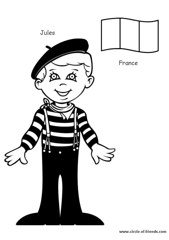 Coloriage enfant france sur Hugolescargot.com - Hugolescargot.com