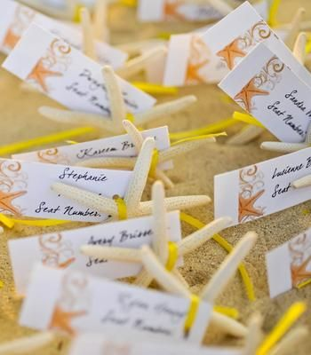 Starfish place cards - a nice touch for a beach wedding
