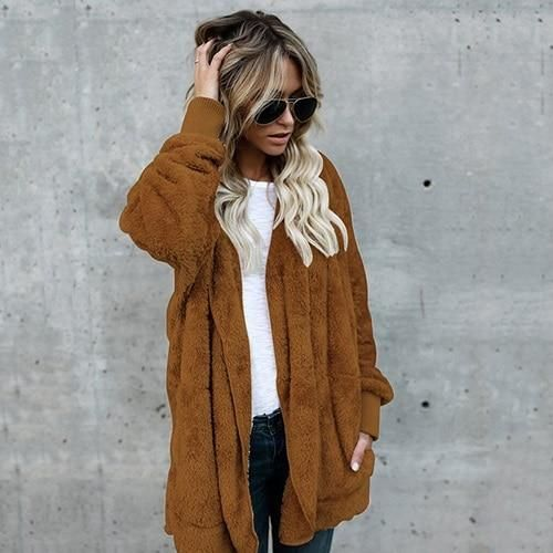 Fleece Jacket Women Autumn Soft Fur jacket Plus Size 3 Female Basic Jackets Hooded Winter Coat Loose Casual Outerwear DLD1166 br 2
