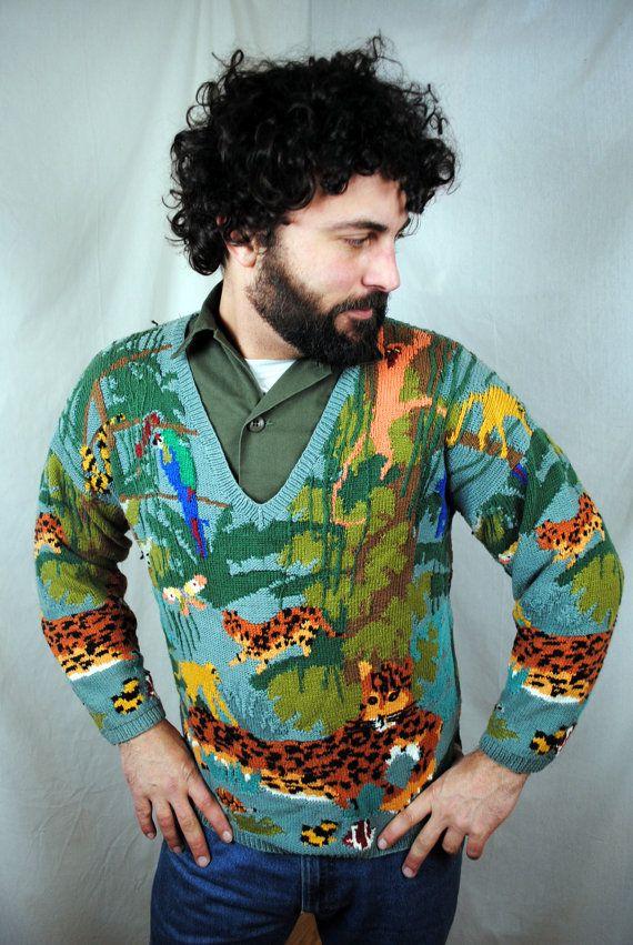 Vintage 80s Knit Jungle Sweater - Monkey. Leopard, Turtle ...