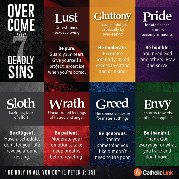 We all have sins that we confess frequently and that are hard to overcome. Here is an infographic with some means to overcome the 7 deadly sins. What other ways can you think of to eradicate sin from our lives?