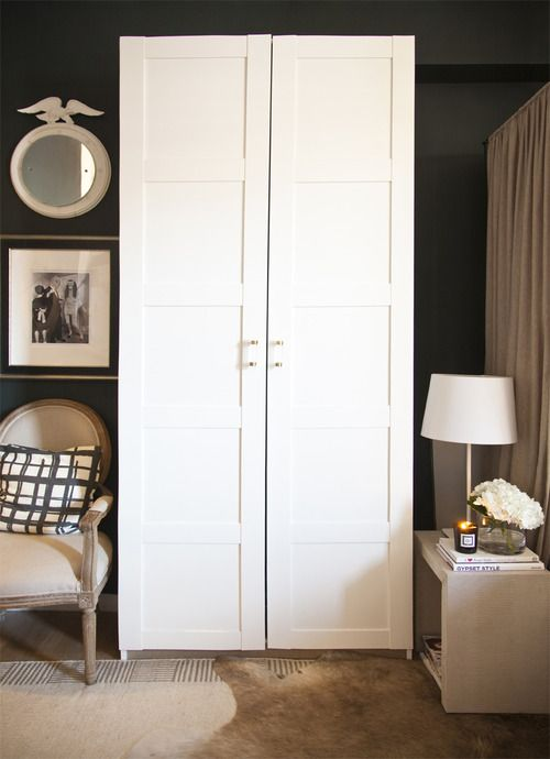 PAX Bergsbo Wardrobe with 2 doors: $189, IKEA (handles: Lucite Adjustable Handle with Brass Finish: $34, The Paris Apartment
