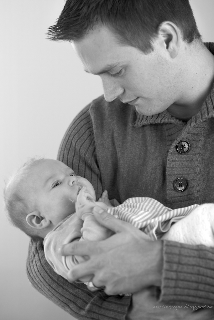 Peaceful B/W Father & Baby Daughter portrait