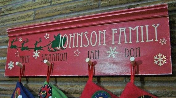 Christmas stocking solution for no mantel!! I can make this myself :)