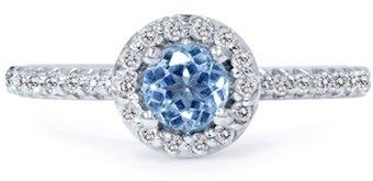 Pompeii3 7/8ct Blue Topaz & Diamond Round Halo Engagement Ring 14k White Gold.
