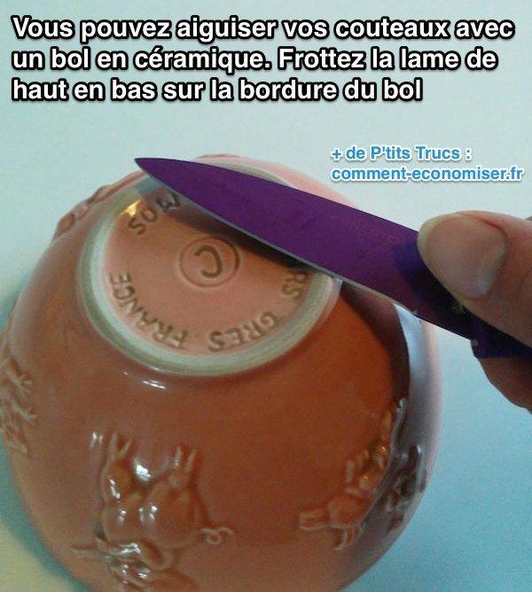 Voici la meilleure technique pour aiguiser vos couteaux. Sortez un bol en céramique et frottez la lame de haut en bas sur la bordure du bol.  Découvrez l'astuce ici : http://www.comment-economiser.fr/meilleure-technique-aiguiser-couteaux.html?utm_content=buffer87f94&utm_medium=social&utm_source=pinterest.com&utm_campaign=buffer