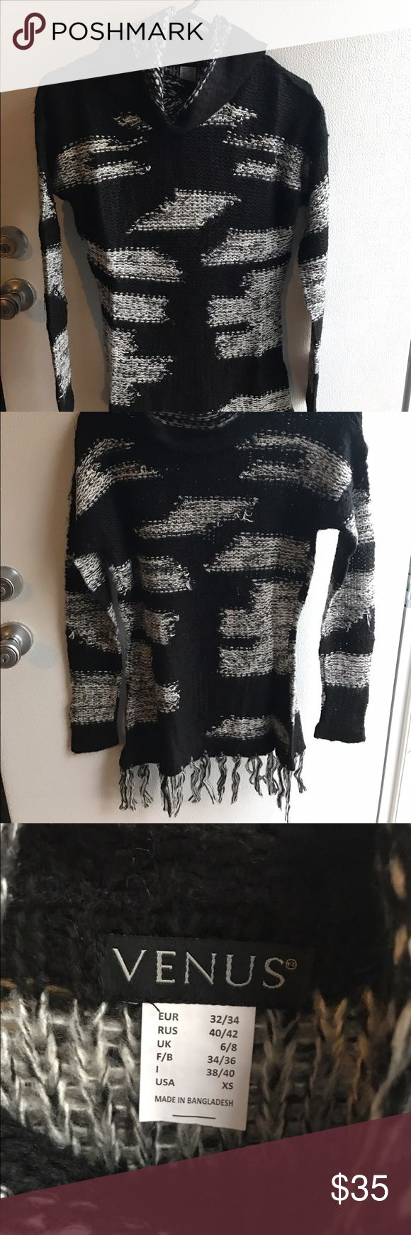 Venus Brand New never been worn Fringe Blouse Brand New never been worn tags still on black and white turtle neck Blouse. It's a great buy and gift ! I have one and Love it ! They ended up sending me 2 so I'm selling this one ! Venus Sweaters Crew & Scoop Necks