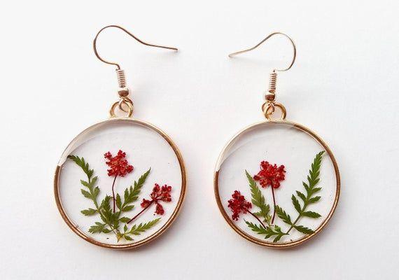 Gold earrings handmade. flower jewelry natural minimalist resin jewelry dried red fern